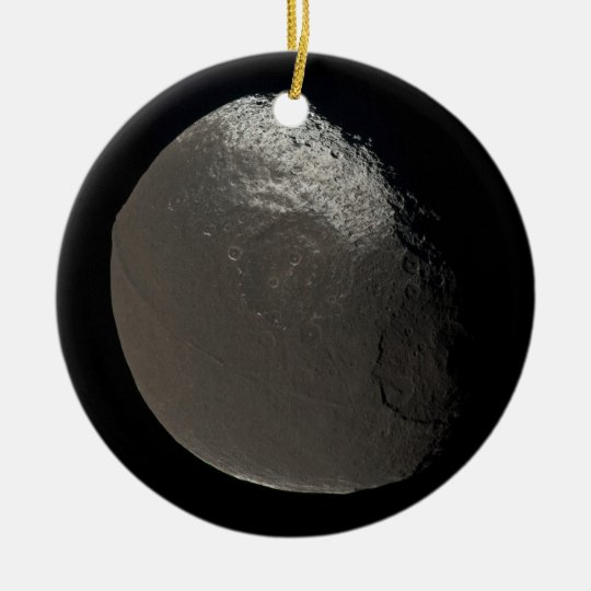 Saturn's 3rd Largest Moon Iapetus Taken by Cassini Ceramic Ornament