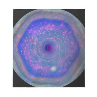 Saturn's Hexagonal Storm Notepad