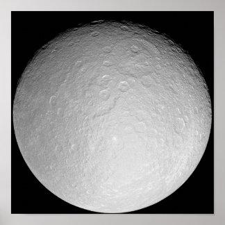 Saturn's icy moon Rhea Poster