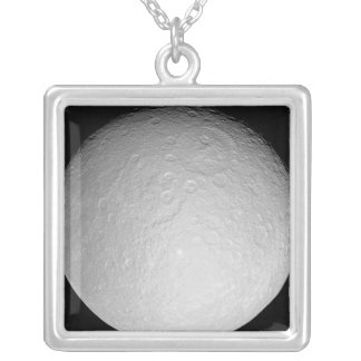 Saturn's icy moon Rhea Square Pendant Necklace