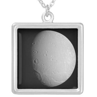 Saturn's moon Dione 2 Square Pendant Necklace