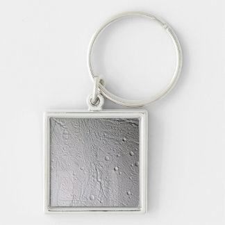 Saturn's moon Enceladus 4 Silver-Colored Square Keychain