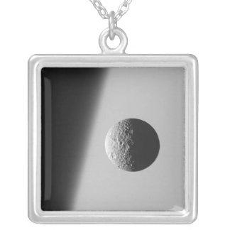Saturn's moon Mimas Square Pendant Necklace