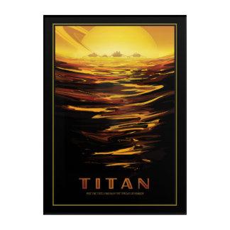 Saturns Moon Titan Sci-fi Travel Illustration Acrylic Print