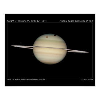 Saturns Moons Transit Astronomy Poster