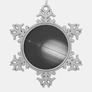 Saturn's Rings Edge-on Snowflake Pewter Christmas Ornament