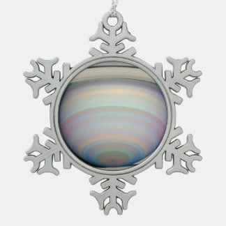 Saturn's Rings in Infrared Light Snowflake Pewter Christmas Ornament