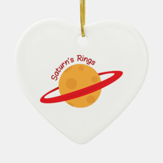 Saturns Rings Double-Sided Heart Ceramic Christmas Ornament
