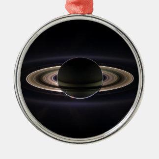 Saturn's rings round metal christmas ornament