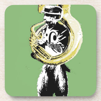 satyr playing bass beverage coaster