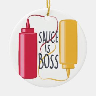 Sauce Is Boss Ceramic Ornament