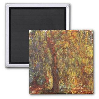 Sauce que llora de Claude Monet, bella arte del Imán Cuadrado