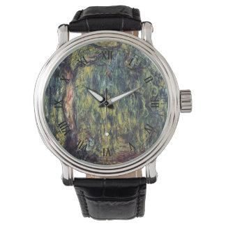 Sauce que llora de Claude Monet, bella arte del Reloj