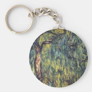 Sauce que llora II de Monet, impresionismo del Llavero Redondo Tipo Chapa