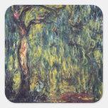 Sauce que llora II de Monet, impresionismo del Pegatinas Cuadradases Personalizadas