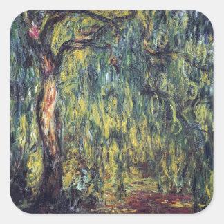 Sauce que llora II de Monet, impresionismo del Pegatina Cuadrada