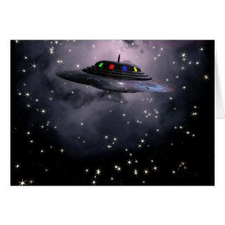 Saucer against night sky cards