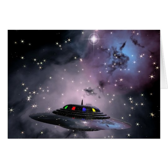Saucer in space card