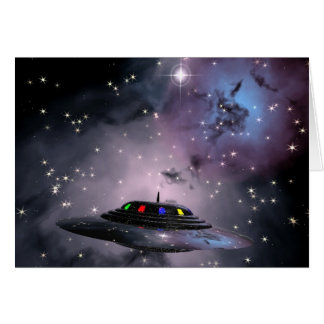 Saucer in space cards