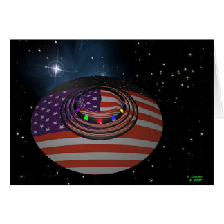 Saucer, reflecting the American flag Greeting Card