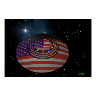 Saucer, Reflecting The American Flag Posters