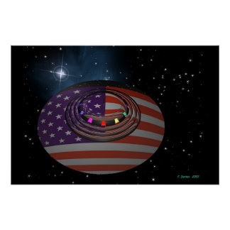 Saucer reflecting the American flag version 2 Poster