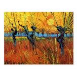 Sauces de Van Gogh en la postal de la puesta del s