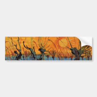 Sauces de Van Gogh en la puesta del sol, impresion Pegatina De Parachoque