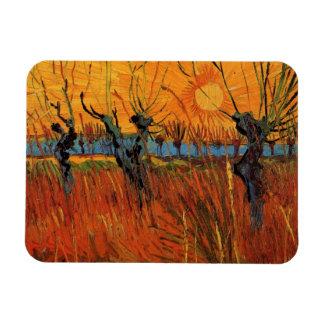 Sauces de Van Gogh en la puesta del sol impresion Imanes Rectangulares