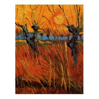 Sauces de Van Gogh en la puesta del sol impresion Postales