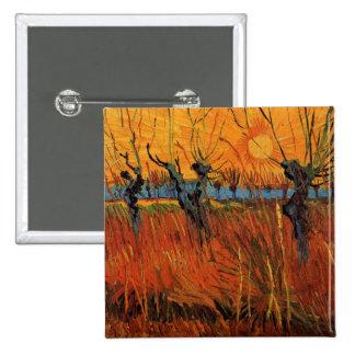 Sauces de Van Gogh en la puesta del sol, Pin Cuadrado