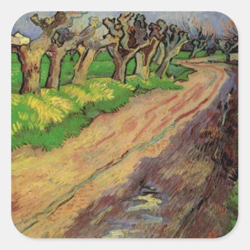 Sauces del árbol descopado de Van Gogh, impresioni Calcomania Cuadradas Personalizada