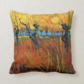Sauces en la puesta del sol de Vincent van Gogh. Cojín