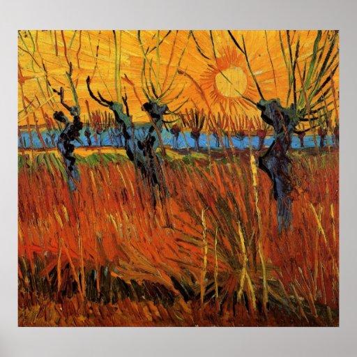 Sauces en la puesta del sol de Vincent van Gogh Póster