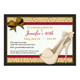 Saucy Tan Heels and Leopard Invitation -Red Gold