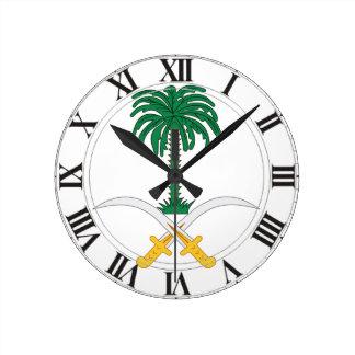Saudi Arabia Coat of Arms Round Wallclocks