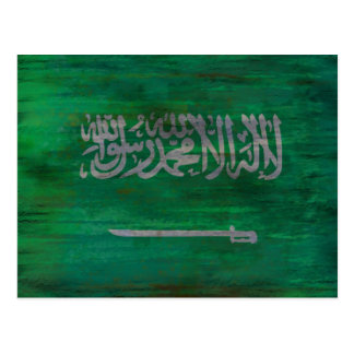 Saudi Arabia distressed Saudi Arabian flag Postcard