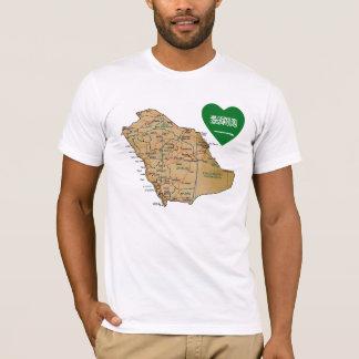Saudi Arabia Flag Heart and Map T-Shirt