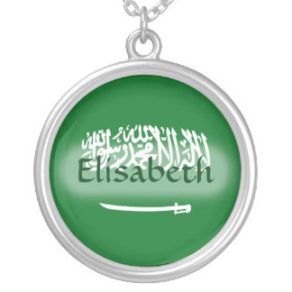 Saudi Arabia Flag + Name Necklace
