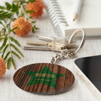 Saudi+Arabia Flag Star on Wood theme Keychain