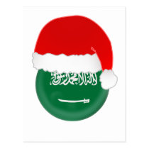 Saudi-Arabia Santa, flag and hat Postcard
