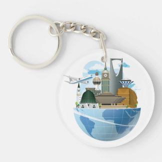 Saudi Arabia Travel Themed (double-sided) Keychain