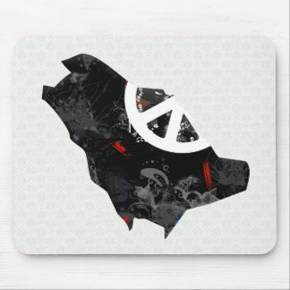 Saudi Arabia Trendy Peace Sign with Saudi map Mouse Pads