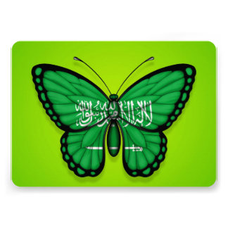 Saudi Arabian Butterfly Flag on Green Announcements