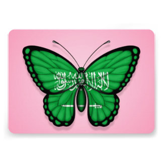 Saudi Arabian Butterfly Flag on Pink Announcement
