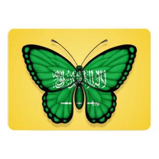 "Saudi Arabian Butterfly Flag on Yellow 5"" X 7"" Invitation Card"