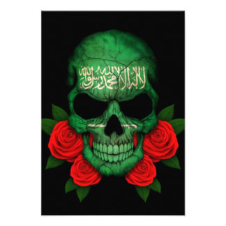 Saudi Arabian Flag Skull with Red Roses Personalized Invites