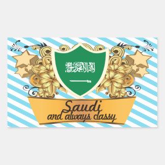 Saudí con clase rectangular pegatina