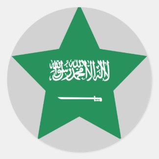 Saudí+Estrella de Arabia Etiqueta Redonda