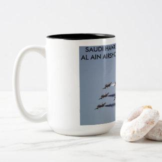 Saudi Hawks performing at Al Ain Airshow, UAE Two-Tone Coffee Mug